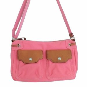 Fossil Bayside Top Zip Canvas & Leather Bag